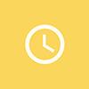 circulo amarelo com um relogio no centro